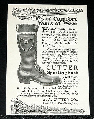1917 Old Magazine Print Ad, Cutter Sporting Boots, Miles Of Comfort, Years Wear!