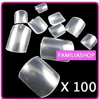 100 Faux Ongles Transparent Special Pied Capsules Pedicure
