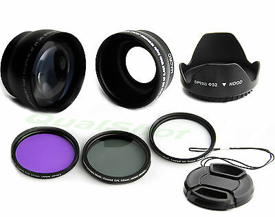 52mm .45 Wide angle +2X tele lens + filter Kit +Hood for Canon Nikon Pentax Sony
