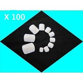 100 Faux Ongles Blanc Special Pied Capsules Pedicure Blanche