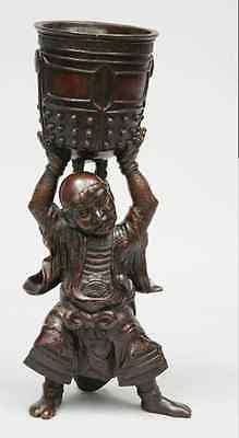 Antique Japanese Meiji Patinated Bronze Figure Of A Guardian With Prayer Bowl