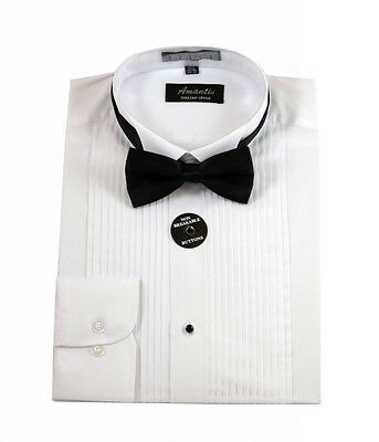Mens Wing Tip White Tuxedo Shirt Modern Fit Wrinkle-Free Cotton Blend Amanti