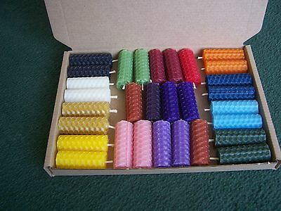 Spell Candles - 60 Mini Beeswax Hand Rolled  (5cm/2 Inch) Altar/Wicca/Pagan