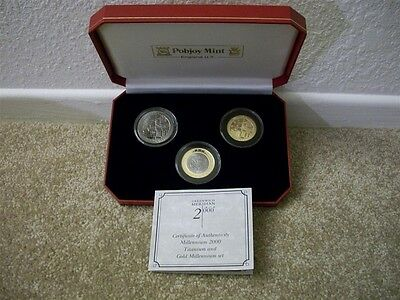 2000 Greenwich Meridian (3) Three Coin Gold/Titanium Proof Set Only 750 Struck