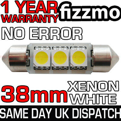ERROR FREE CANBUS 3 SMD LED 38mm 239 272 C5W XENON WHITE NUMBER PLATE LIGHT BULB