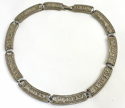 Vintage 1970s Silver Wide Link Choker NecklaceWith Foreign Alphabet Detail