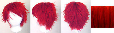 13/'/' Short Messy Spiky Split Natural Black and Scarlet Red Wig Cosplay NEW