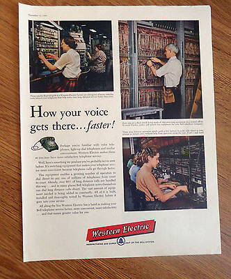 1956 western bell telephone ad girls in factory wiring switching equipment