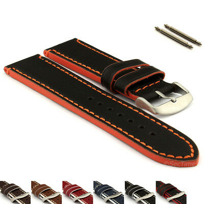 Men's Genuine Leather Watch Strap Band PORTO Spring Bars SS. Buckle Spring Bars