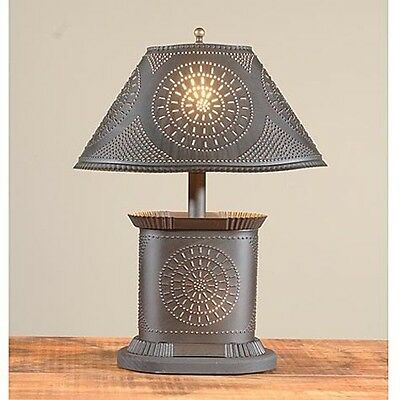 Petite Oval Lamp in Blackened Punched Tin   Country Colonial Accent Table Light