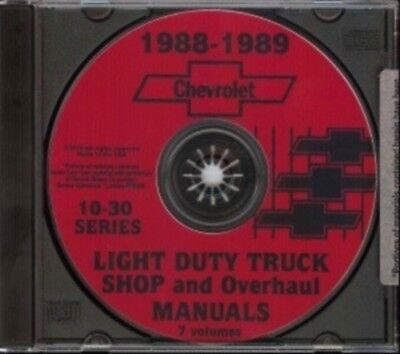 CHEVROLET 1988 & 1989 Pick Up Truck, Blazer, Suburban & Van Shop Manual CD
