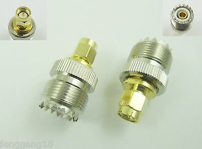 2pcs UHF SO-239 Female Jack to SMA Male Plug Straight RF Adapter Connector