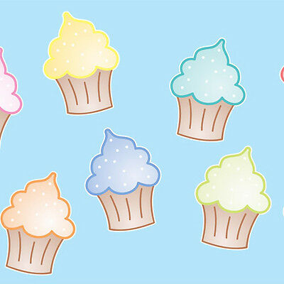 CUPCAKE WONDERLAND Wall Stickers girls bedroom kitchen baby blue pink nursery