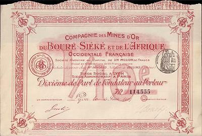 Colonial French West Africa Bond 1907 Gold Mines Boure Sieke Uncancelled coupons
