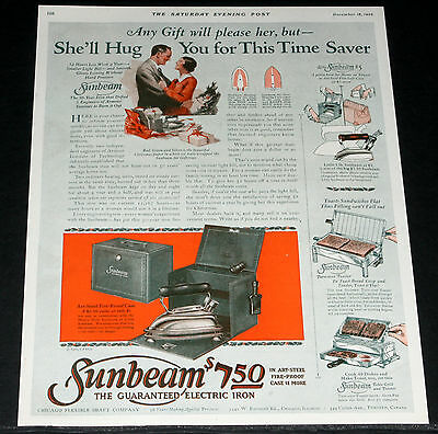 1926 Old Magazine Print Ad, Sunbeam Electric Iron, She'll Hug You This Xmas Art!