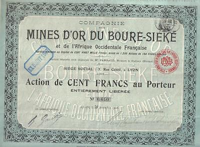 Colonial French West Africa 1906 Gold Mines Boure Sieke 100 fr Uncancelled coup