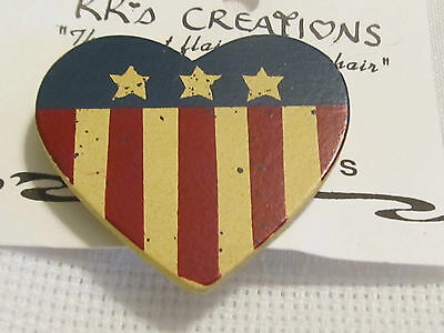 New Patriotic USA Celebration Symbol Wood Funky Heart Brooch Pin Stripe 1 7/8""