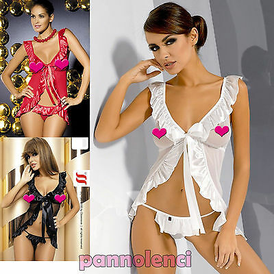 Obsessive Electra CHEMISE + TANGA baby doll babydoll bordi raso intimo donna