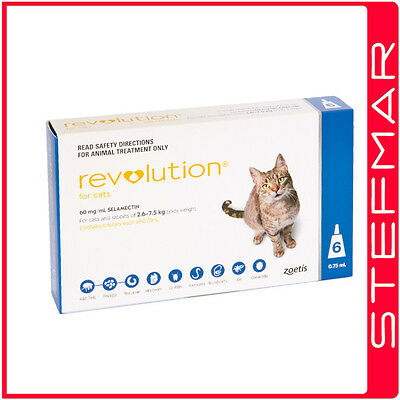 Revolution for Cats Flea Treatment 2.6-7.5kg Blue 6 Pack EXP 03/19