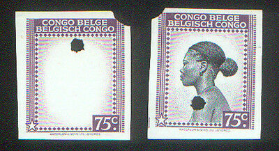 BELGIAN CONGO 75c PRINTER PROOFS ( 2 ) by WATERLOW & SONS HOLE PUNCHED of 1942