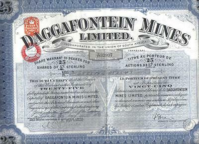 South Africa 1939 Daggafontein Gold Mines 25 shares Uncancelled coupons Waterlow