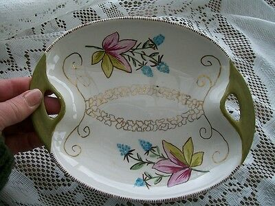 Vintage Lord Nelson England  Platter Plate 7-67 Green Pink Gold Serving Dish