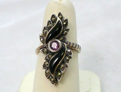 Vintage Art Deco Sterling Silver amethyst Onyx Marcasite ring size 6.25