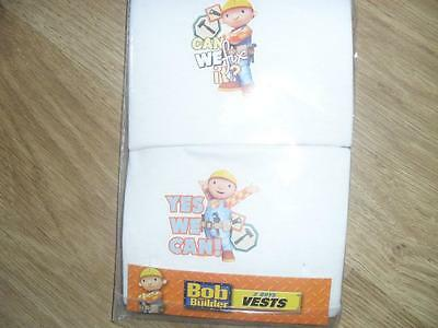 Brand new Pack of 2 Boys Bob The Builder Themed White Vests
