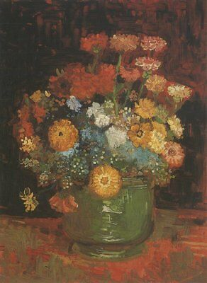 Vase Zinnias Paris Van Gogh VG262 Reproduction Art Print A4 A3 A2 A1