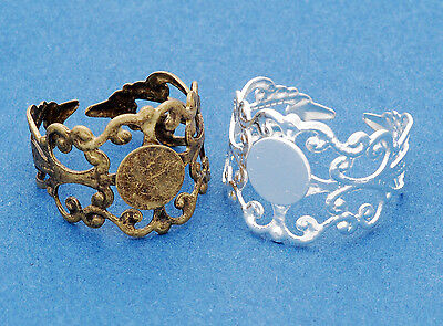 2 x Adjustable Filigree Ring Blanks  8mm Pad - Silver Plated or Antique Bronze