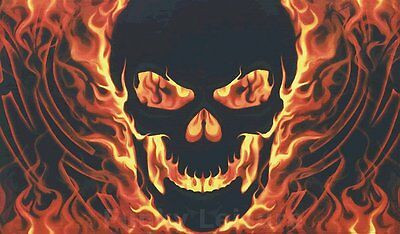 Skull with Fire Flag - 5' x 3'