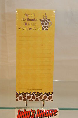 Magnetic Note Pad~75 Sheets~Decaf? No Thanks!~New~Sealed~Free Ship Us~