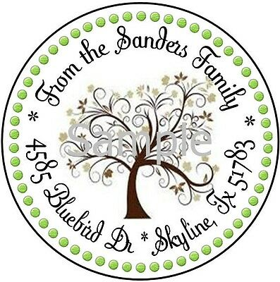 Whimsical Tree #12 Laser Round Address Labels