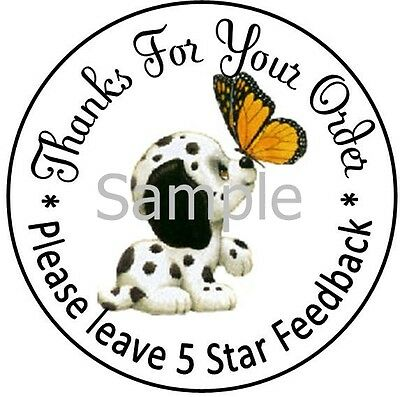 Puppy & Butterfly - Dsr #5 Thank You Laser Labels