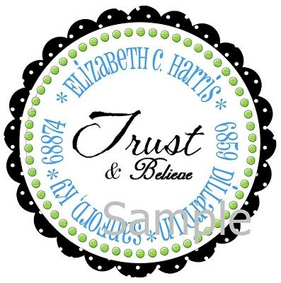 Christian Faith Trust And Believe #20 ~ Laser Printed Round Address Labels