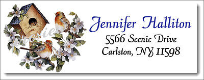 Birdhouse and Flowers #5  Return Address Labels