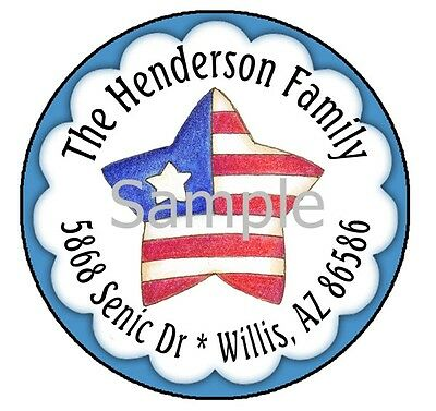 American Flag Star In Blue #10 Round Address Labels