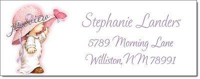 Timeless Girl and Butterfly #001 Return Address Labels