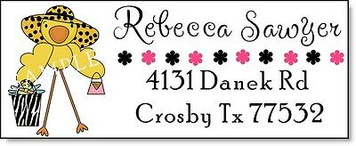 CUTE SHOPPING CHICKIE #22 Laser Return Address Labels