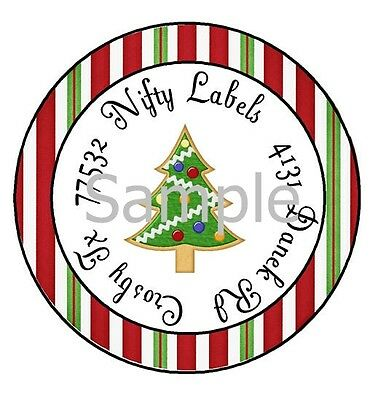 GLOSSY Christmas Tree #299 Round Return Address Labels