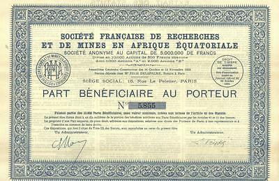 Africa Equatorial 1930 French Society Research Mining Uncancelled coupons