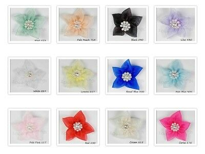 5 Large Sheer Chiffon Organza Poinsettia Flowers With Beads  Many Colours Listed