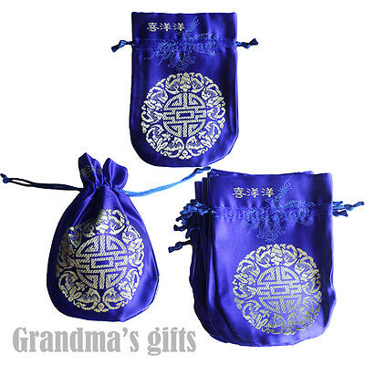 10 Blue Brocade Pouch Purses Jewelry Coins Gift Bag