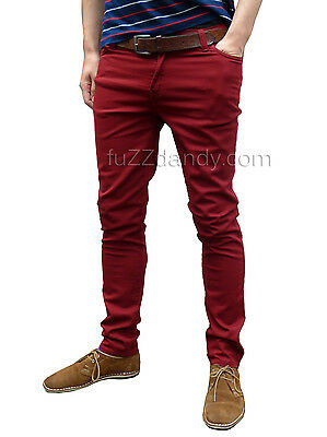 Drainpipes trousers skinny jeans vtg 80s 60s indie mod Burgundy Red Chinos NEW