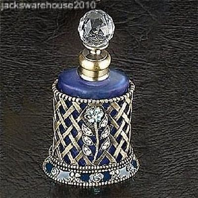 Braid Basket w/Blue Crystal Flower Perfume Bottle Fragrance Container Decoration