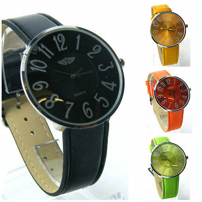 PRINCE LONDON WATCH FAUX LEATHER STRAP MATCHING BRIGHT COLOURS BIG LARGE FACE W4