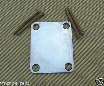 Neck Plate + Screws aged RELIC for Fender USA Stratocaster Telecaster PBass