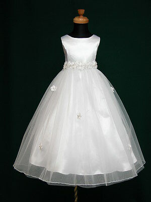 New Angela Flowergirl Flower Girl Communion Bridesmaid Wedding Ivory Dress 3-10