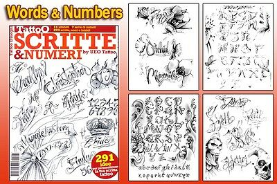 SCRIPT & NUMBERS Tattoo Flash Design Book 66-Pages Cursive Writing Art Supply