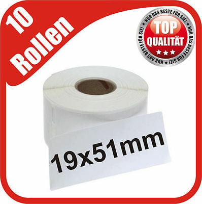 10 Rollen 2200 Etiketten 19 x 51 mm kompatibel Dymo 400 450 Duo Twin Turbo 11355
